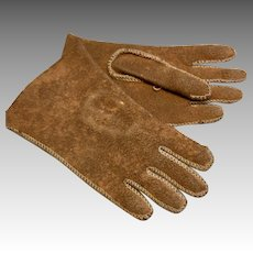 Lovely Antique Doll Gloves Suede Leather