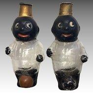 2 Googly Black German Doll Miniature Glass Perfume Bottle