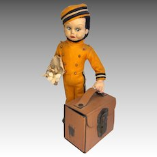 Cloth Bellboy with Suitcase Candy Container Vintage Lenci Type Bellhop Googly Doll Felt Clothes