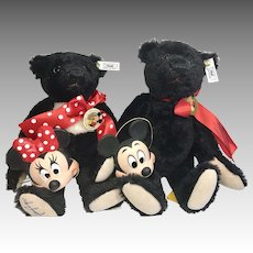 2 Steiff Black Bear Walt Disney World Teddy Bear Convention Mickey Minnie Mouse Original  Limited Edition