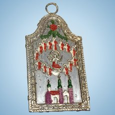 German Soft Metal Dollhouse Doll Miniature Religious Christmas Antique Wall Art Picture