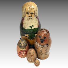 4 Piece Wood Nesting Stacking Doll Animal Set Doll Toy Box