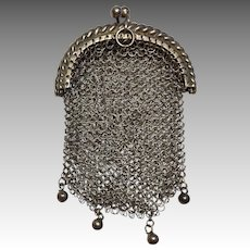 Metal Mesh Antique Chatelaine Doll Purse