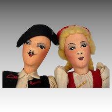 2 German Center Seam Cloth Doll Pair Folk Art Style Couple