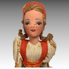 German All Original Tagged Vintage Center Seam Cloth Doll