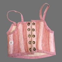 Pretty Antique Pink Striped Doll Corset French Fashion FF