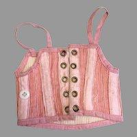 Pretty Antique Pink Striped Doll Corset French Fashion FF