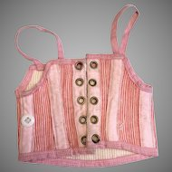 Antique Pink Striped Doll Corset French Fashion FF