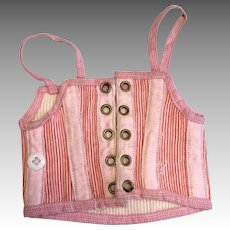 Antique Pink Striped Doll Corset French Fashion