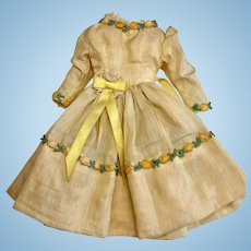 Lovely Vintage Yellow Silk Doll Dress