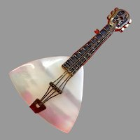 Vintage Mother of Pearl Miniature Lyre Guitar String Instrument Pin for Doll