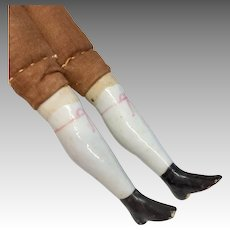 Pair Antique China Head Doll Legs Ankle Boots