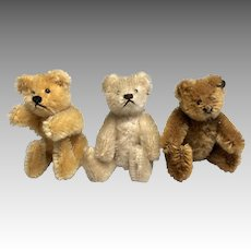 3 Miniature Vintage Steiff Doll Size German Teddy Bear