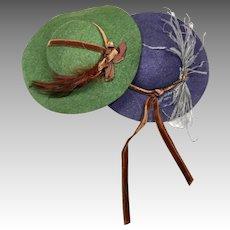 2 Hand Made Vintage Pressed Felt Doll Hat Bonnet