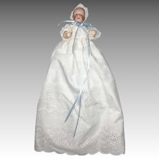 Tiny Bisque Head Antique German Doll in Christening gown
