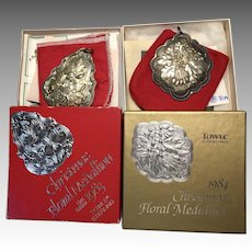 2 Sterling Silver Boxed Towle Christmas Ornament Medallion 1983 1984