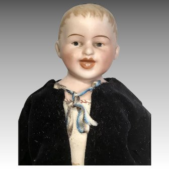 Antique German Bisque Character Boy Doll Smiling Intaglio Eyes