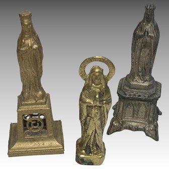 3 Miniature Metal Religious Antique Figure German Dollhouse Doll Figurine