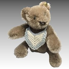 Adorable Miniature Steiff Teddy Bear for Doll or Dollhouse Crochet Baby Bib