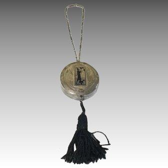 Sterling Silver Deco Lady Dog Vanity Bag 1922 Vintage Powder Compact Chain Tassel Signed International