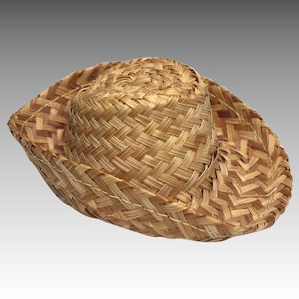 Tiny Vintage Woven Straw Doll Hat