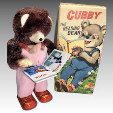 Vintage Teddy Bear Reading Tin Book Wind Up Toy Original Box Working