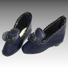 Blue Leather Heeled French Fashion Doll Shoes Buckle Bow FF