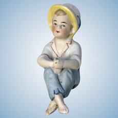German All Bisque Fishing Boy Sitting Antique Doll