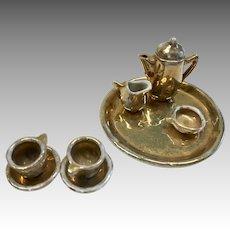 Darling Miniature Bisque Gold Leaf Dollhouse Doll Tea Coffee Set Tray Pot Creamer Sugar 2 Cups Saucers