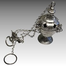 Antique German Miniature Soft Metal Religious Hanging Incense Burner for Doll Dollhouse