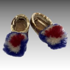 Tiny French Pom Pom Leather Doll Shoes