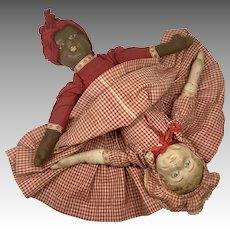 Antique Cloth Bruckner Topsy Turvy Black White Rag Doll