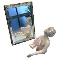 Antique Doll Size Easel Back Beveled Mirror
