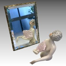 Doll Size Easel Back Mirror Vintage Bezel Set Beveled