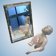 Doll Size Easel Back Mirror Vintage Bezel Set Beveled