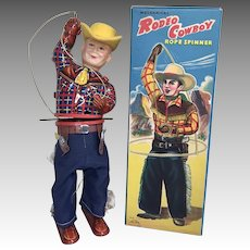 Vintage Tin Wind Up Rodeo Cowboy Doll Tin Toy Rope Spinner in Original Box