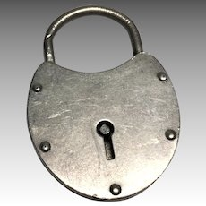 "Large 2"" Vintage Sterling Silver Padlock Pendant not Charm"