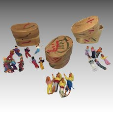 3 Miniature Painted Box Tiny Vintage Cloth Doll Collection