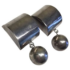 Fun Chunky Dangling Ball Sterling Silver Mexico Vintage Earrings