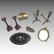 Vintage Dollhouse Doll Miniature Metal Accessories Fireplace Candlesticks Frame Tray Iron