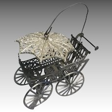 Antique Soft Metal Dollhouse Doll Miniature Carriage with Hood