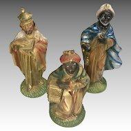 3 Vintage Creche Manger Scene Doll Figure Wise Men King Christmas Italy