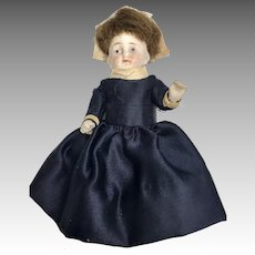 Antique German All Bisque Doll Well Dressed Miniature Dollhouse Size