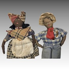 Primitive Folk Art Stitched Cloth Black African American Doll Couple