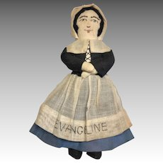 Vintage Cloth Evangeline Doll Hand Made