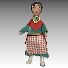Vintage Carved Wood Native American Indian Doll