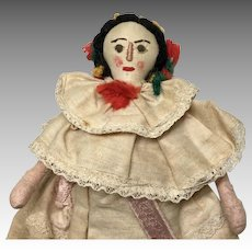 Vintage Cloth Doll Stitched Features