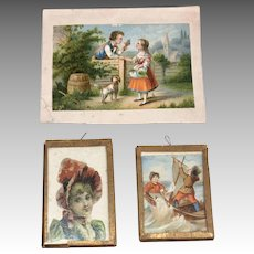 3 Antique Paper Litho Miniature Dollhouse Doll Print Picture