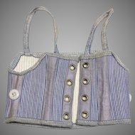 Antique Doll Corset Beautiful Blue Bisque Fashion Doll FF
