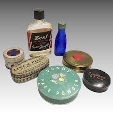 Miniature Doll Powder Compact Bottle Toiletries Vintage Dollhouse Tin